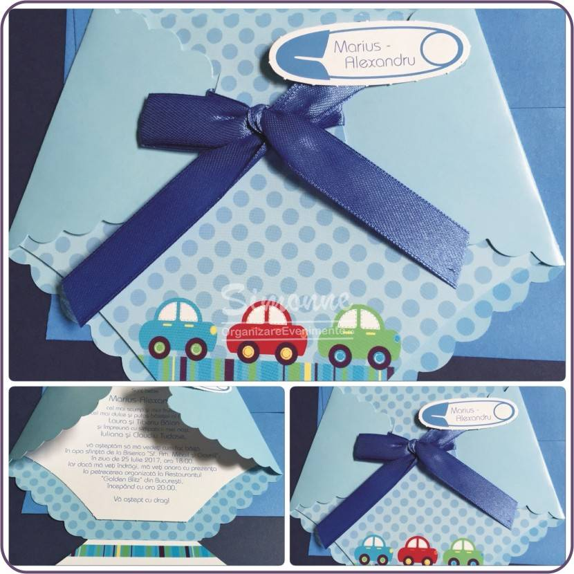 Invitatie botez Pampers bleu
