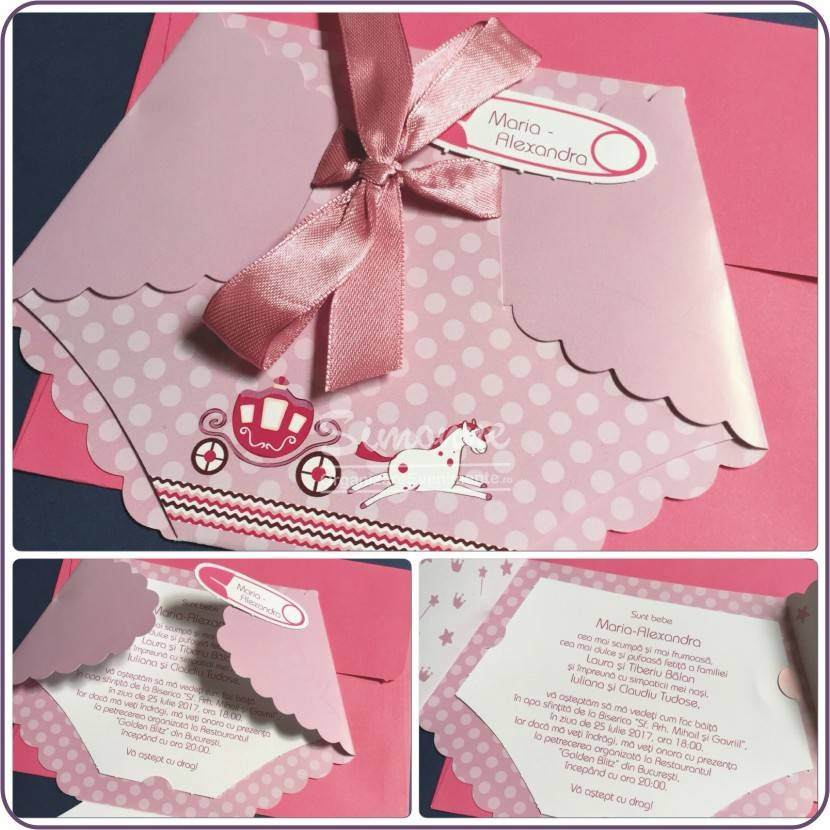 Invitatie botez Pampers roz