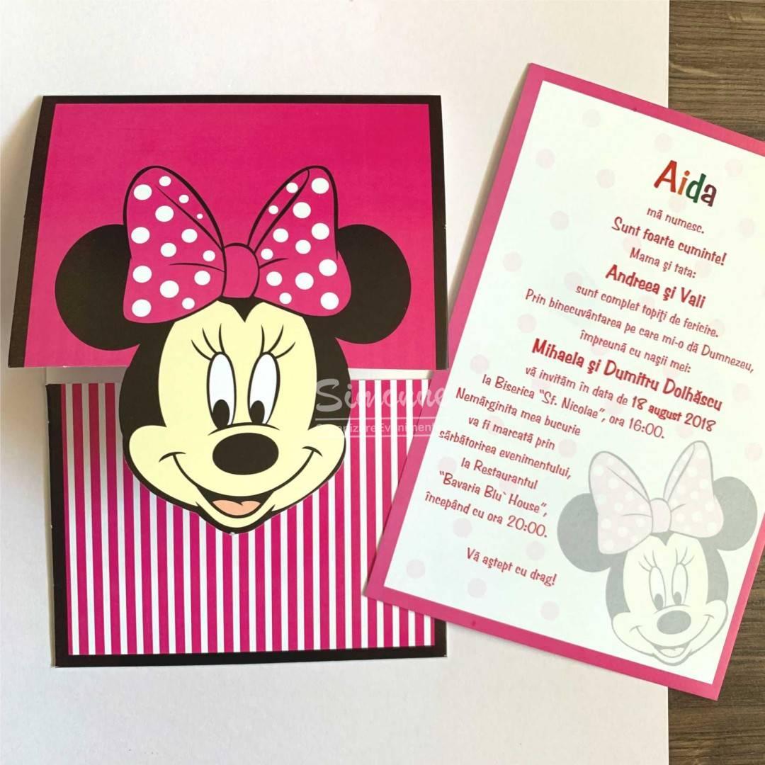 Invitatie Botez Fetita Minnie Mouse Roz