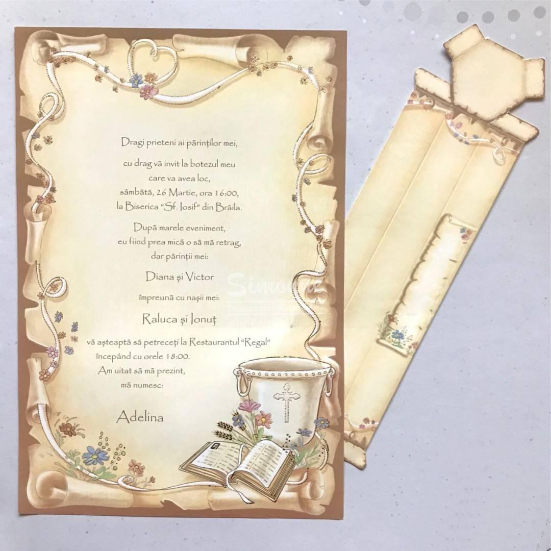 Invitatie Botez Papirus Decor Cristelnita