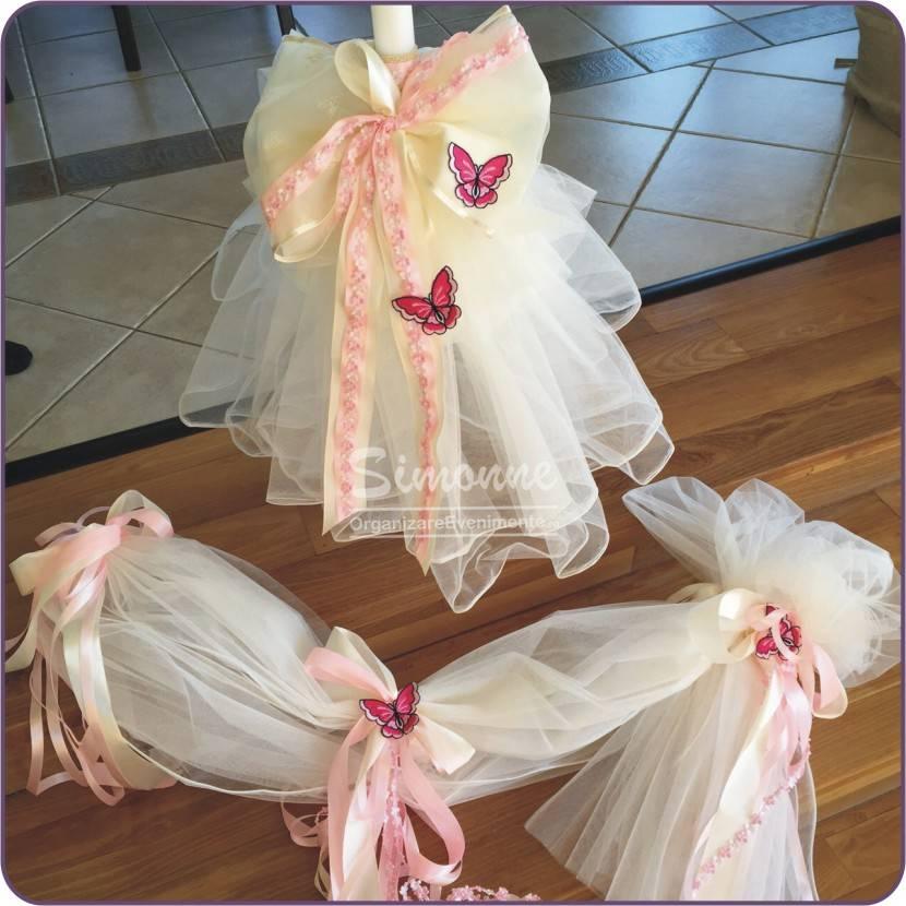 Lumanare botez cu fluturasi roz