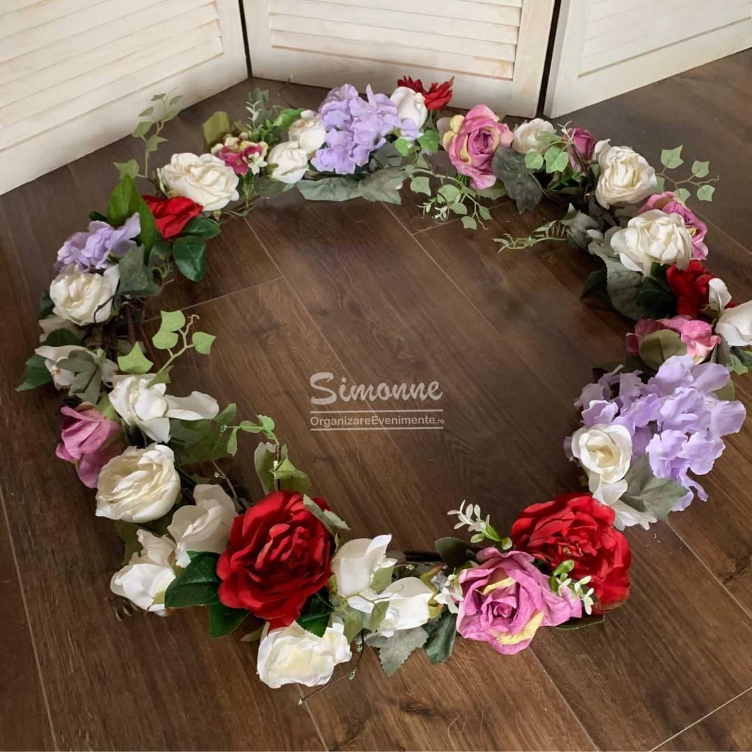 Aranjament ghirlanda cristelnita flori artificiale