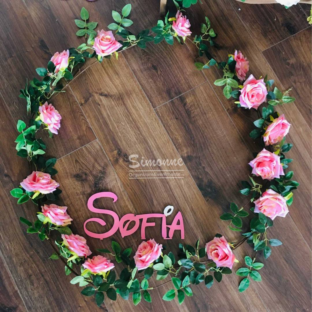 Decor cristelnita botez trandafiri artificiali, roz