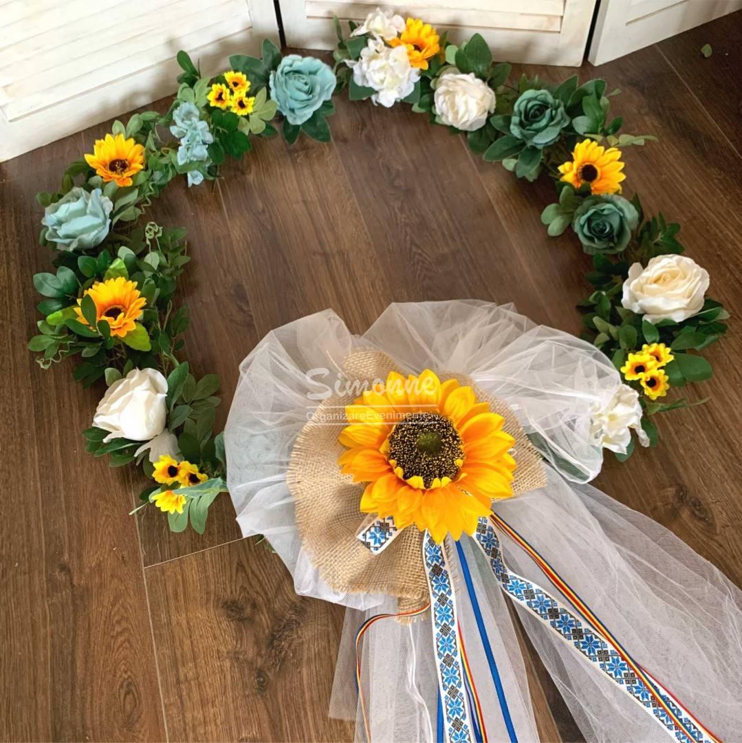 Decor cristelnita traditionala botez floarea soarelui