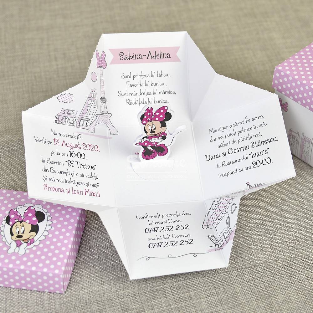 Invitatie botez Minnie Mouse in Paris