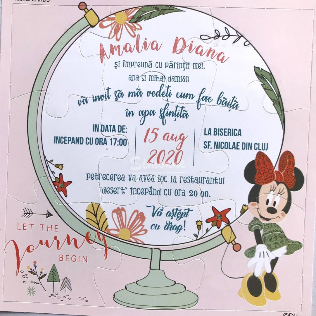 Invitatie botez puzzle Minnie Mouse