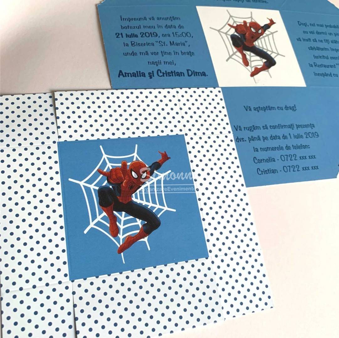 Invitatie botez Spiderman in cutiuta