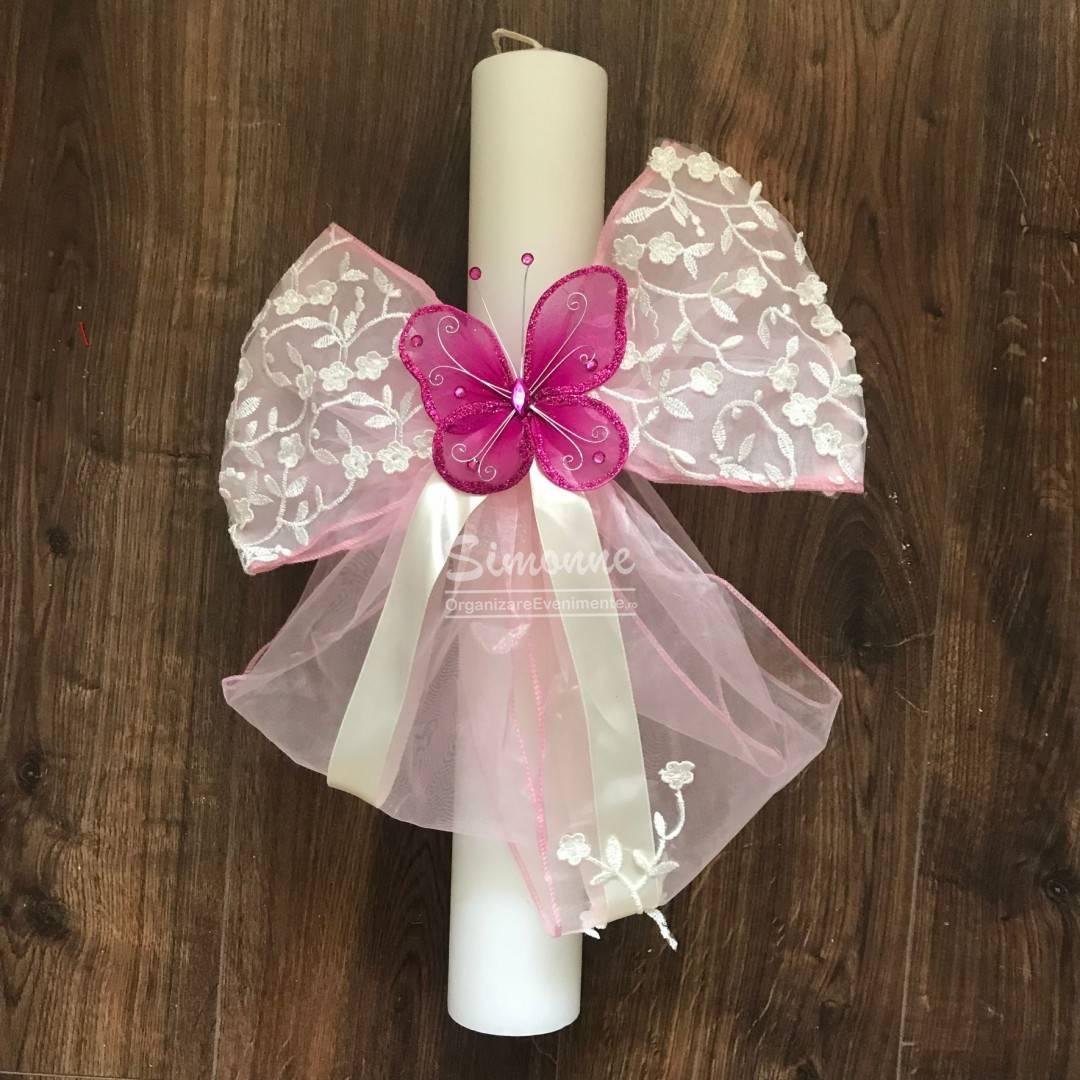 Lumanare botez cu fluturas roz