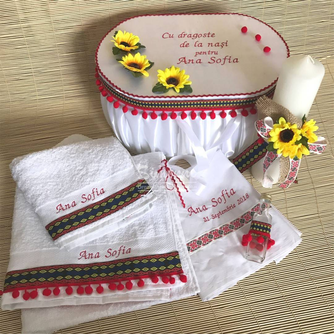 Set traditional trusou lumanare cutie botez