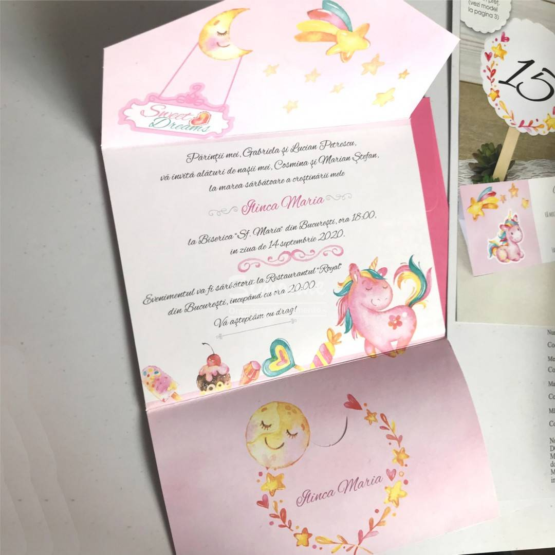 Invitatie botez Unicorn roz